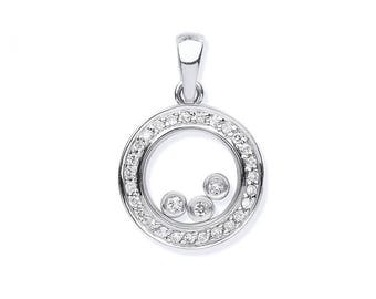 9ct White Gold 0.12ct Floating Trilogy Diamond Circle of Life Pendant
