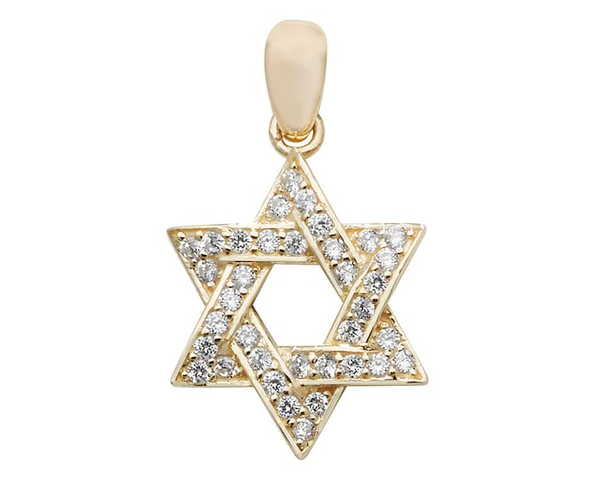 Small 9ct Yellow Gold Channel Set Cz Star of David Pendant 20x15mm