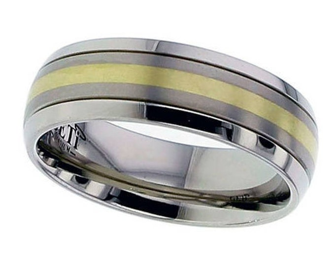 Titanium Domed Wedding Ring Inlaid With 18ct Gold Yellow Stripe Polished Edges - Made to Order - FREE ENGRAVING