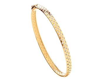 Ladies 9ct Yellow Gold Full Cz Rubover Set Diamond Lattice Bangle Hallmarked