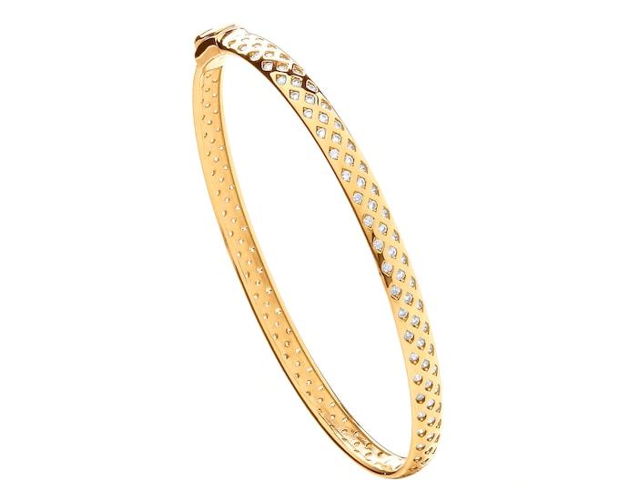 Ladies 9ct Yellow Gold Full Cz Rubover Set Diamond Lattice Bangle Hallmarked - Real 9K Gold