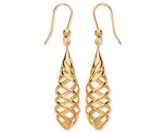 9ct Yellow Gold Contemporary Twisted Spiral 4.5cm Long Hook Drop Earrings Hallmarked - Real 9K Gold