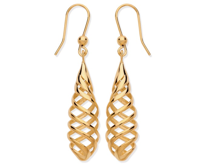 9ct Yellow Gold Contemporary Twisted Spiral 4.5cm Long Hook Drop Earrings