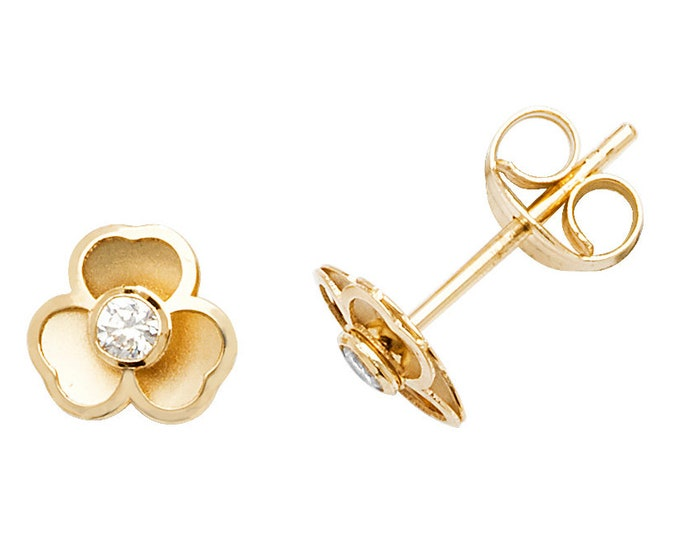9ct Yellow Gold & Cz Three Petal 4mm Flower Stud Earrings