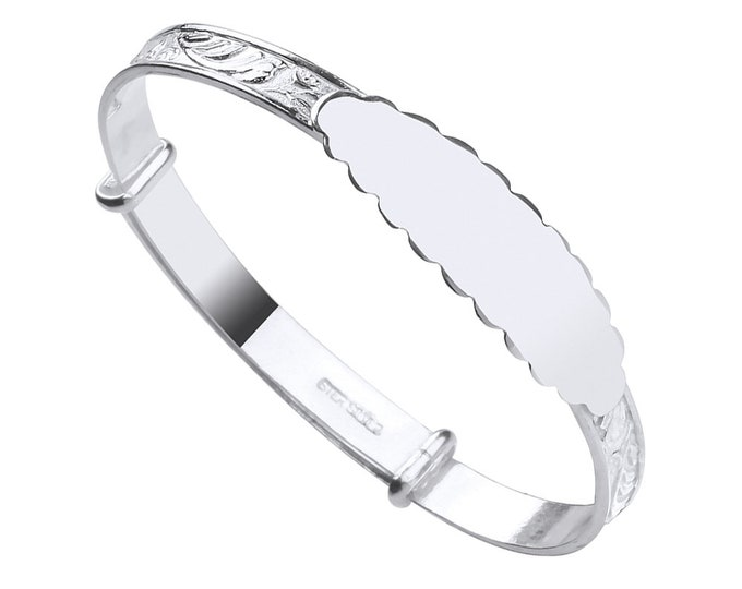 925 Sterling Silver Expandable Scalloped Identity Baby Bangle