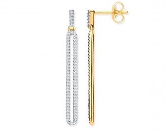 9ct Yellow Gold 3cm Long Loop Drop 0.25ct Diamond Earrings Hallmarked