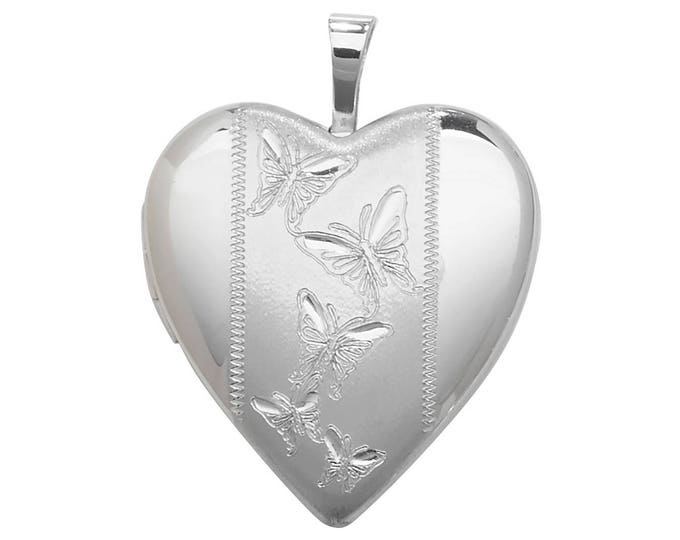 925 Sterling Silver Heart Shaped 2 Photo Engraved Butterfly Design Locket 1.8x1.8cm