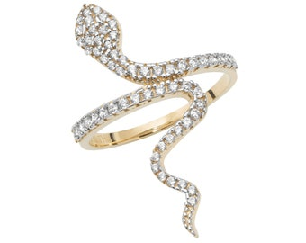 9ct Yellow Gold Cz Pave Serpent Snake Ring Hallmarked