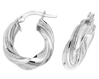9ct White Gold Stardust Stripe Twisted Hoop Earrings 10mm 15mm 20mm 25mm 30mm