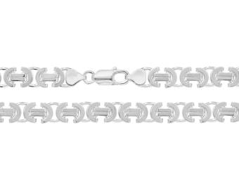 "Gents 8"" Solid 925 Sterling Silver 7mm Wide Flat Byzantine Chain Bracelet"