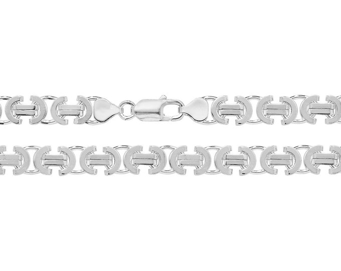 "Gents 8"" Solid 925 Sterling Silver 8mm Flat Byzantine Chain Bracelet"