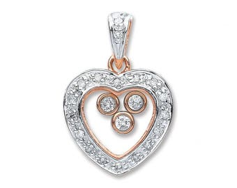 9ct Rose Gold 0.17ct Floating Trilogy & Pave Surround Diamond Heart Pendant