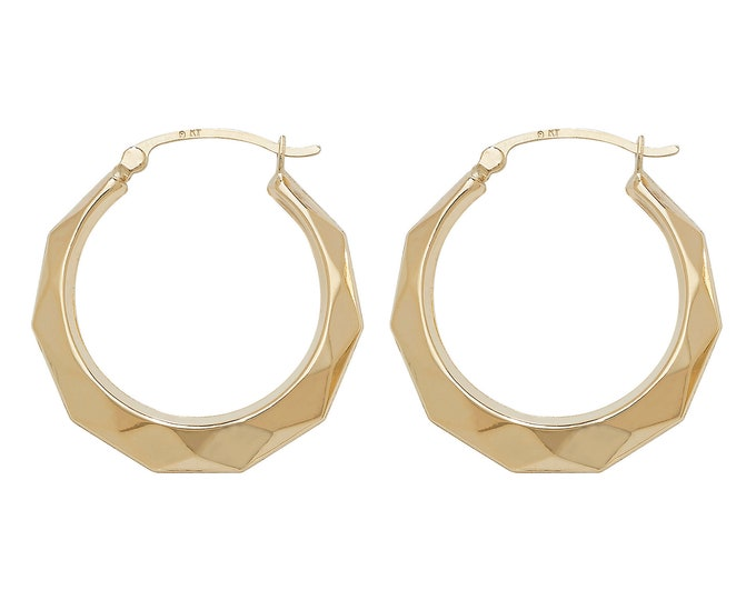 9ct Yellow Gold 20mm Diamond Faceted Creole Hoop Earrings