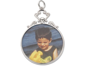 Sterling Silver Double Sided 2 Photo Scroll Top Picture Frame Pendant