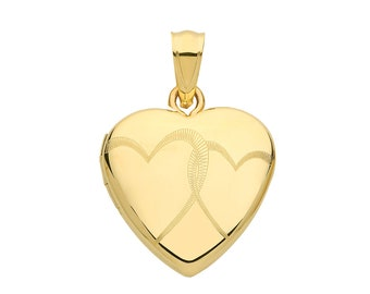 9ct Yellow Gold 15mm Double Heart 2 Photo Heart Shaped Locket Hallmarked - Real 9K Gold