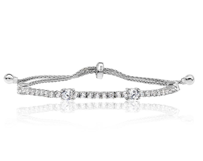 "925 Sterling Silver Round Claw Set Cz 7"" Friendship Toggle Bracelet"