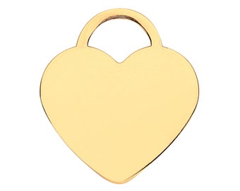 9ct Yellow Gold 15mm Flat Heart Tag Charm Pendant - Solid 9K Gold