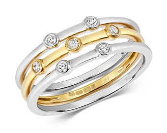 Set Of Three 9ct Bi Colour Gold 0.11ct Diamond Bezel Eternity Rings Hallmarked - Solid 9K Gold
