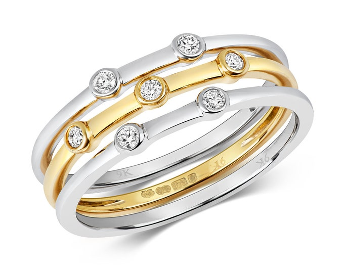 Set Of Three 9ct Two Colour Gold 0.11ct Diamond Eternity Rings Hallmarked