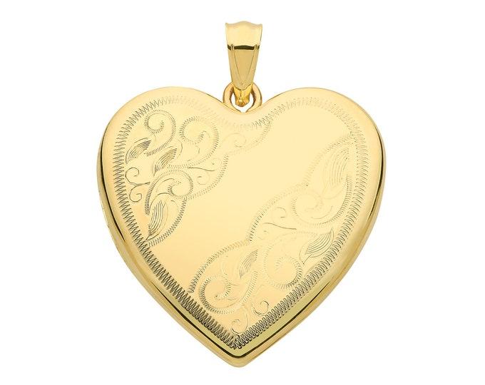 9ct Yellow Gold 24mm Half Engraved 2 Photo Heart Shaped Locket Hallmarked