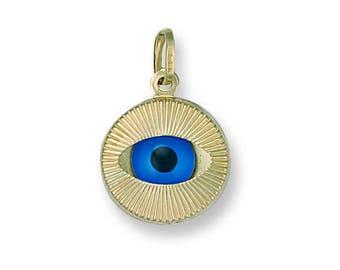 9ct Yellow Gold 12mm Evil Eye Sunburst Design Charm Pendant 0.8g
