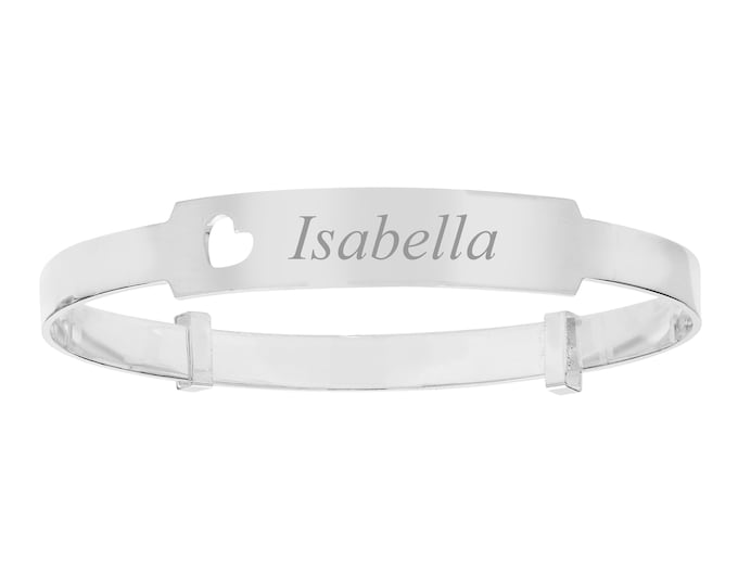 Personalised Sterling Silver Cut Out Heart Expandable Baby Identity Bangle