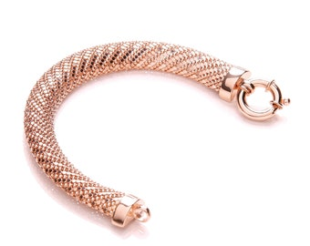 "Rose Gold or Rhodium Plated Sterling Silver Mesh & Large Bolt Ring 7.5"" Bracelet"