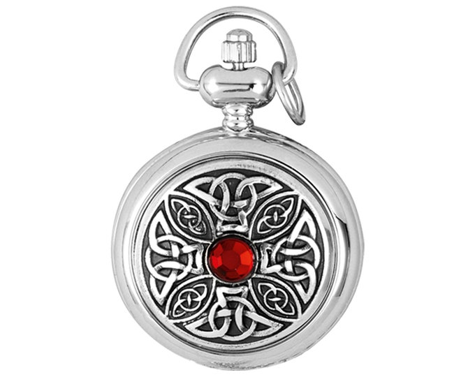 "Ladies 29mm Celtic Knot Red Cabachon Half Hunter Fob Watch Pendant With 28"" Chain Necklace"