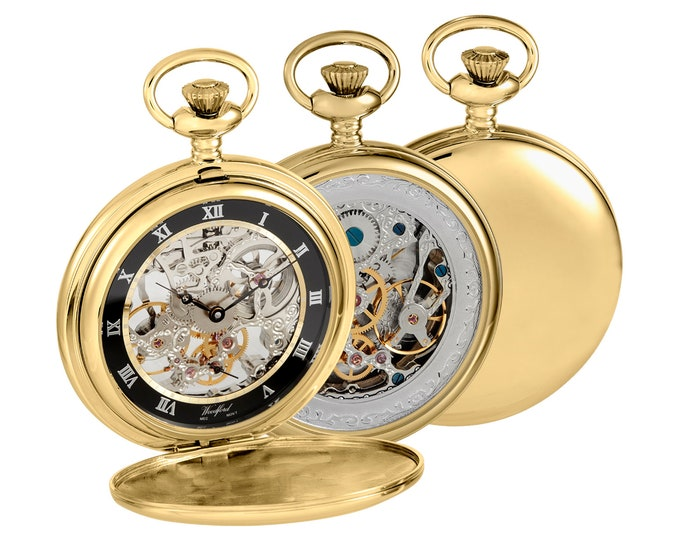 Gold Plated Mechanical Full Dial Double Hunter Skeleton Back Pocket Watch - Engraved Message