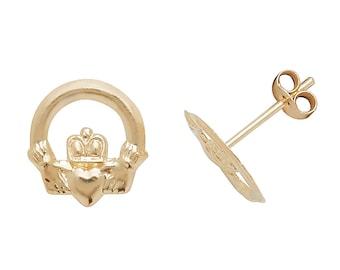 Dainty 9ct Gold Irish Claddagh 7mm Stud Earrings - Real 9K Gold