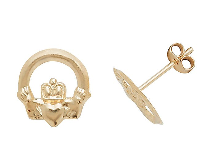 Dainty 9ct Gold Irish Claddagh 7mm Stud Earrings - Real 9K Gold