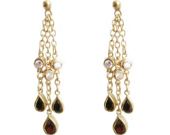 Gold on Sterling Silver Pear Cut Real Garnet 4.5cm Chain Teardrop Earrings