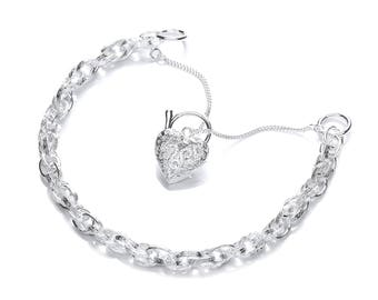 """925 Sterling Silver Prince of Wales 7"""" Bracelet With Filigree Heart Padlock Charm"""