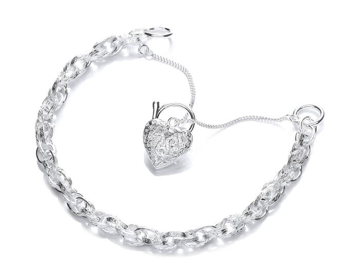 Sterling Silver Prince of Wales Bracelet With Filigree Heart Padlock Charm