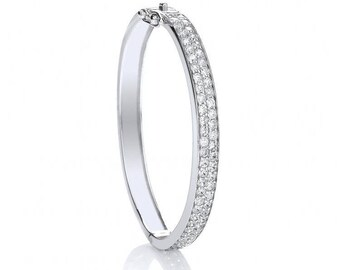 925 Sterling Silver Micro Pave 2 Row Cubic Zirconia Hinged Baby Bangle