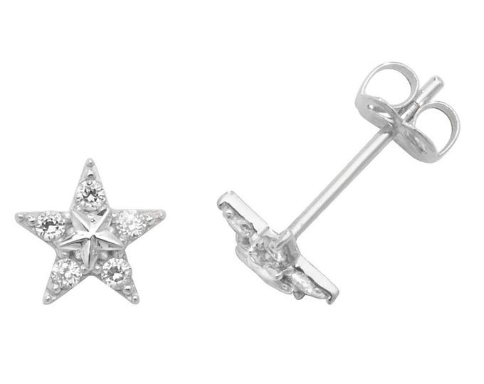 9ct Gold 4mm Star Stud Earrings Set With Cubic Zirconia Stones