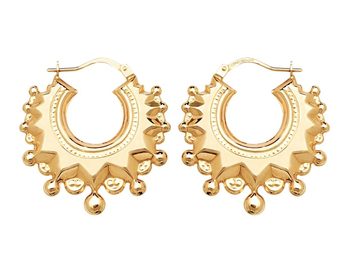 9ct Yellow Gold 15mm Gypsy Creole Spike Hoop Earrings - Real 9K Gold