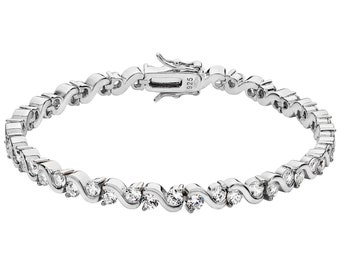 "Ladies 925 Sterling Silver Cz Infinity Links 7"" Bracelet Hallmarked"