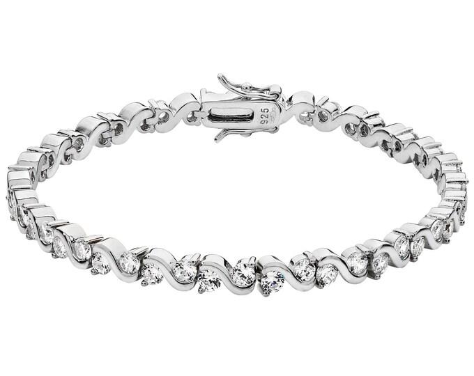 "Ladies 925 Sterling Silver Cz Infinity Link 7"" Tennis Bracelet Hallmarked"