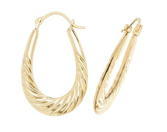 9ct Yellow Gold 20x15mm Hollow Twisted Waterfall Oval Creole Hoop Earrings