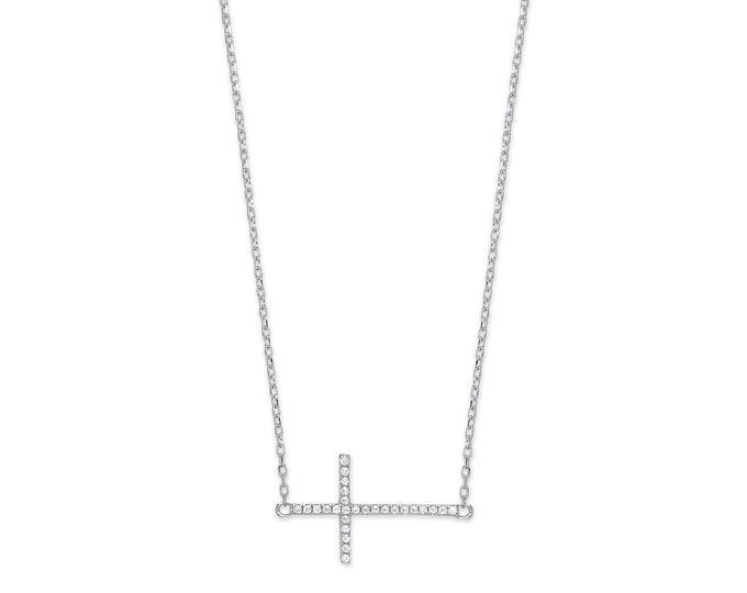 "Sterling Silver Cz Pave 2cm Sideways Cross Pendant on 16""-18"" Chain"
