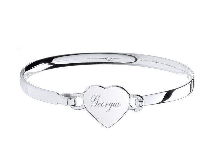 Girls Sterling Silver Heart Tag Charm Identity Bangle - Personalised Name or Initials