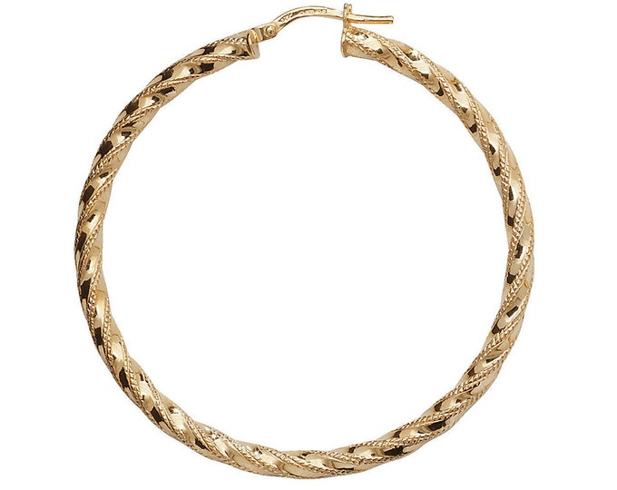 9ct Yellow Gold DC Twisted Hoop Earrings 10mm 15mm 20mm 25mm 30mm 40mm 50mm 60mm