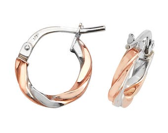 9ct Rose & White Gold Flat Twisted Hoop Earrings