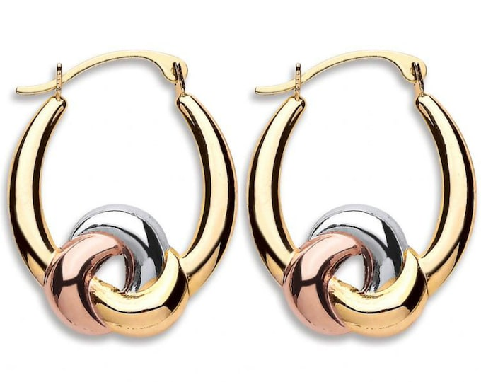 9ct 3 Colour Gold 20mm Twisted Knot Oval Hoop Earrings Hallmarked