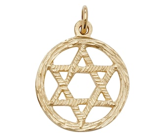 9ct Yellow Gold Carved Wood Design 1.5cm Round Star of David Pendant