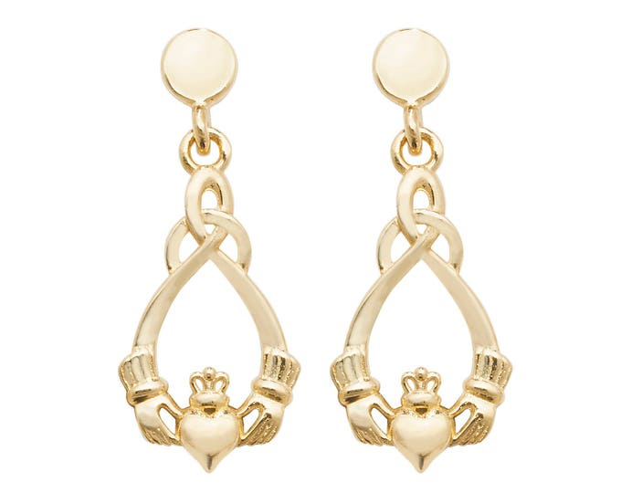 9ct Gold Irish Claddagh Twisted Drop Earrings 16x6mm