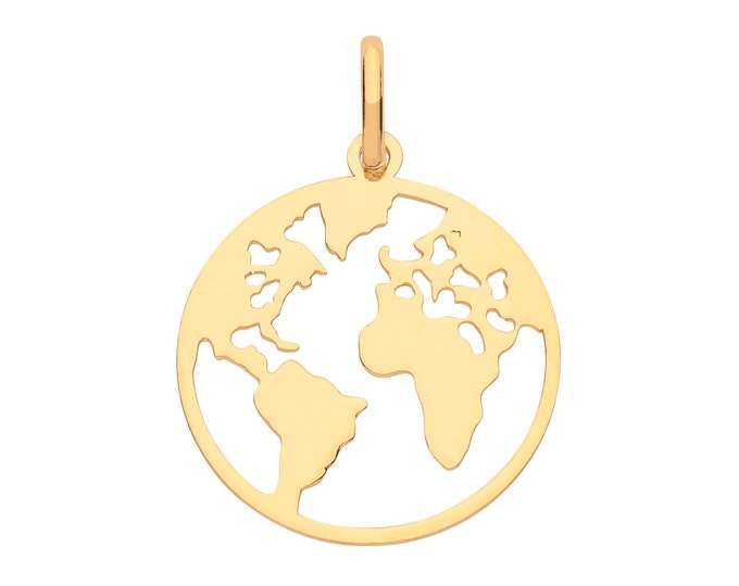 9ct Yellow Gold 12mm Diameter Cut Out World Map Disc Pendant - Real 9K Gold