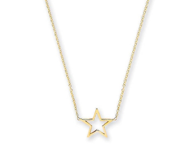 "9ct Yellow Gold Star Pendant on Adjustable 16""-18"" Rolo Chain Necklace"
