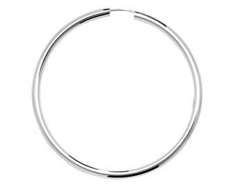 Pair of Large 60mm Diameter Sterling Silver 2.5mm Tube Threader Sleeper Hoop Earrings